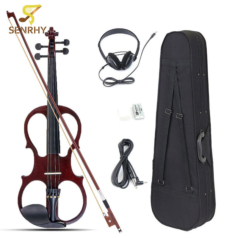 Senrhy 4/4 Electric Violin Fiddle Stringed Instrument Basswood with Fittings Cable Headphone Case For Music Lovers Beginners 4 4 violin fiddle stringed instrument musical for kids student beginners high quality basswood body steel string arbor bow rosin