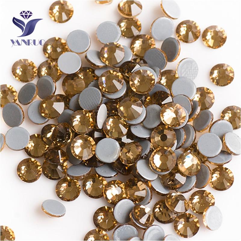 YANRUO 2058HF SS20 Light Colorado Topaz 1440Pcs Crystal Flatback Rhinestones Hotfix Strass Glass Stones For Clothing