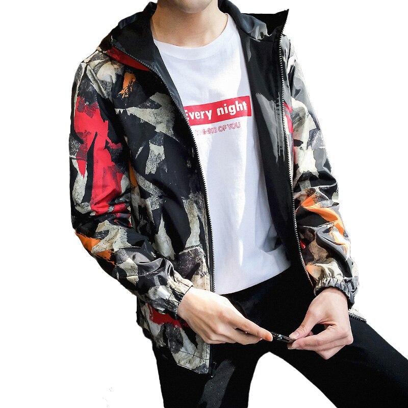 Windbreaker Jackets Men 2019 Causal Men Zipper Lightweight Jackets Both Side Wear Hooded Jackets Coats Male Jaqueta Masculina