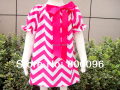 New cute kids girls cotton dress long Maxi rose bow Girls Chevron Dresses KP-MD006