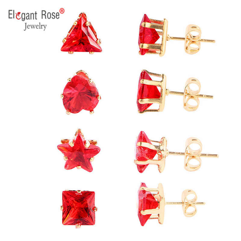 2018 Popular Trendy Earrings 1-9 Sets Classic Type Cheap Jewelr Red Heart Round Stud Earrings Pendiente For Women Girl Brincos