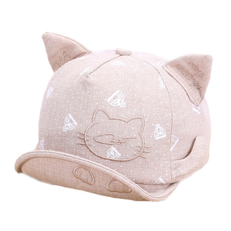 ba1df3f892b Lawadka Newborn Hats For Girls Cute Cat Baby Hat Girls Boys Caps Infant  Summer Sun Hat With Ear Beanies Accessories