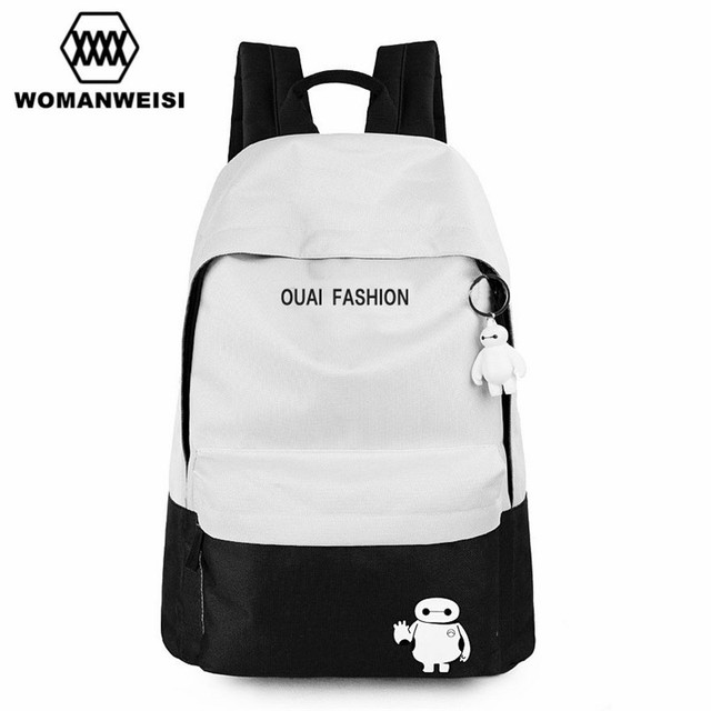 Cute Baymax Black And White Oxford Backpack For Teens Fashion Brand Anime  Women Backpack Youth School Bag Pack Mochila Escolar 87df7fc1c8e54
