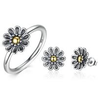 25 Sterling Zilveren Bloem Vinger Ring Oude en Oorbellen Zilveren Vrouwen Party Jeweley Set