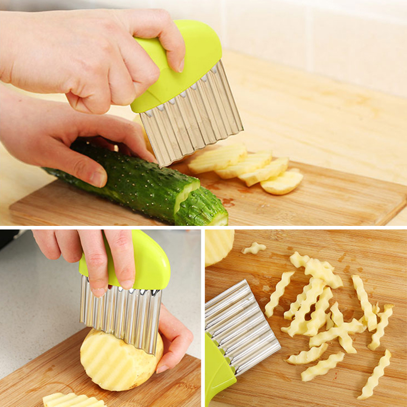 Potato French Fry Cutter Vegetable Stainless Steel Kitchen Accessories Blade Easy Slicing Banana Fruit Potato Wave Knife Chopper