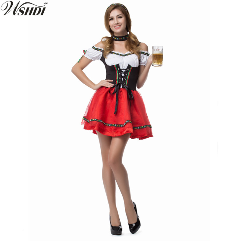 S-XXL 2018 Oktoberfest Maid Fancy Dress Cosplay German Beer Girl Costume Sexy Dirndl Deguisement Halloween Costumes For Women