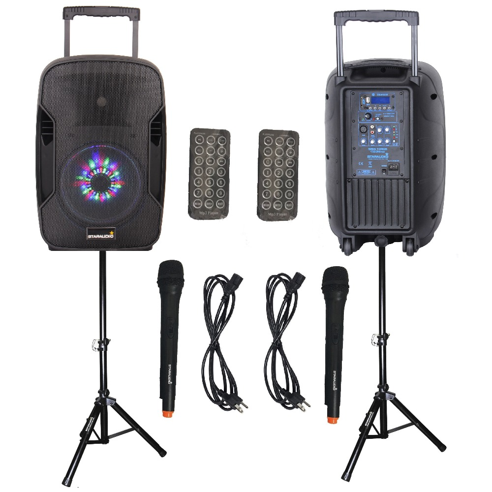 STARAUDIO SBM-10RGB 2Pcs Pro PA 10 1500W Active Recharge Battery DJ Stage Club BT LED Light Speakers +2 Mic +2 Speaker Stands