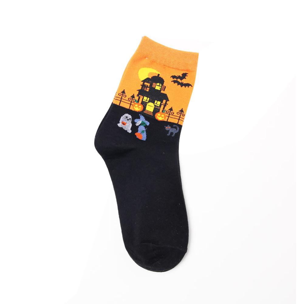 MISS M 1Pair Cartoon Socks Women's  Witch Halloween Pattern Autumn Socks Personality Socks Hosiery Festival Party Birthday Gift