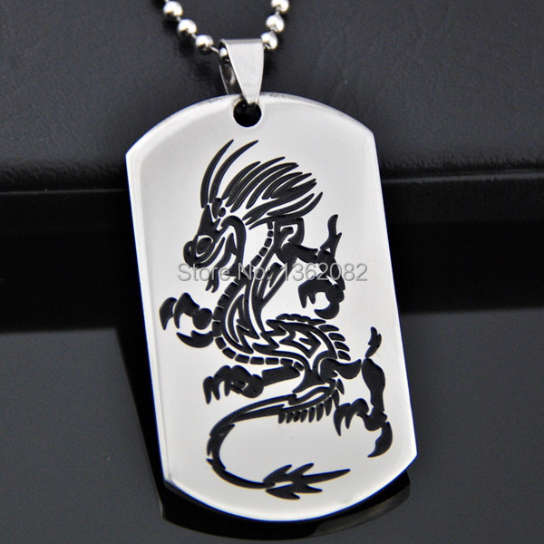 Black Zodiac Dog Tag Necklace: Popular Dragon Dog Tag-Buy Cheap Dragon Dog Tag Lots From