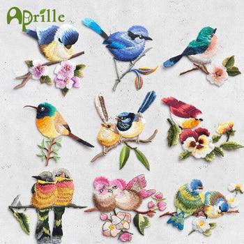 Pájaro con flor de hierro en parches para ropa bordado Applique sombrero DIY abrigo vestido accesorios adhesivo para ropa rayas insignia