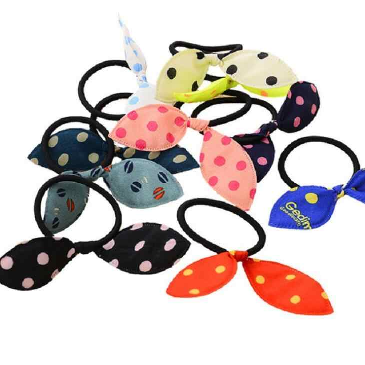 10pcs/lot Girls Lovely Rabbit Ear Elastic Hair Bands Cute Hair Ties Striped Dot Rubber Hair Rope Gum Women Kids Hair Accessories
