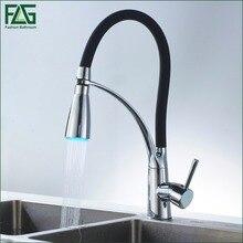 FLG Schwarz und Verchromt Kitchen Sink Wasserhahn Deck Montieren Pull Out Dual Sprühdüse Heiß Kalt Mischer Wasserhähne 100306BA