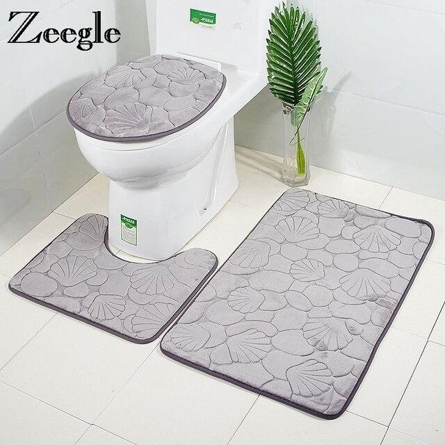 Zeegle 3D In Rilievo Bagno Zerbino Anti-slip Bagno Pavimento Zerbino s 3 pz Bagno Tappetini Assorbente Zerbino Per Wc tappeto Bagno Vasca Da Bagno Tappetini s