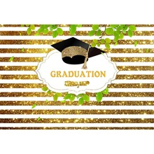 Photography Studio Golden stripe Graduation party Books Hat Photo background Custom name banner Backdrops G-642