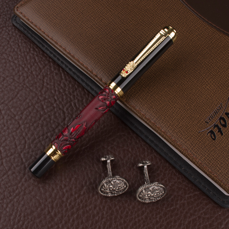 DIKA WEN WINE Dragon pen Gold clip 0.7mm NIB luxury Office Stationery novelty Roller Ball Pen Pencil Box cufflinks for mens dikawen 891 gray gold dragon clip 0 7mm nib office stationery metal roller ball pen pencil box cufflinks for mens luxury