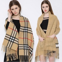 New Brand Pocket Tartan Tassel Cashmere Scarfs Pashmina Double Faced Fashionable Women Winter Pashmina Scarf Colorful Blanket