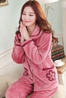Women Flannel Thick Pajamas Coral Velvet Home Service Long Sleeved Autumn And Winter Size Winter Warm