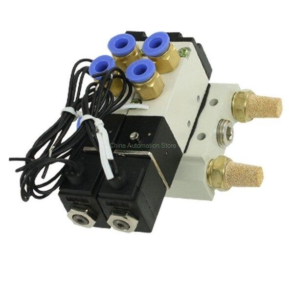 4V110-06 DC 12V DC 24V AC 220V 2 Positions Twin Solenoid Valve Mufflers Quick Fittings Base Set pneumatic solenoid valve 4v110 06 dc12v dc24v dc110v dc220v 2 positions twin solenoid valve mufflers quick fittings base set