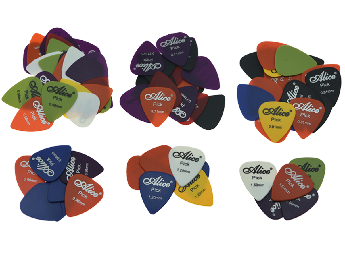 100pcs Alice Matte ABS Guitar Picks with Assorted Colors 6 Thickness 0.58/0.71/0.81/0.96/1.2/1.5
