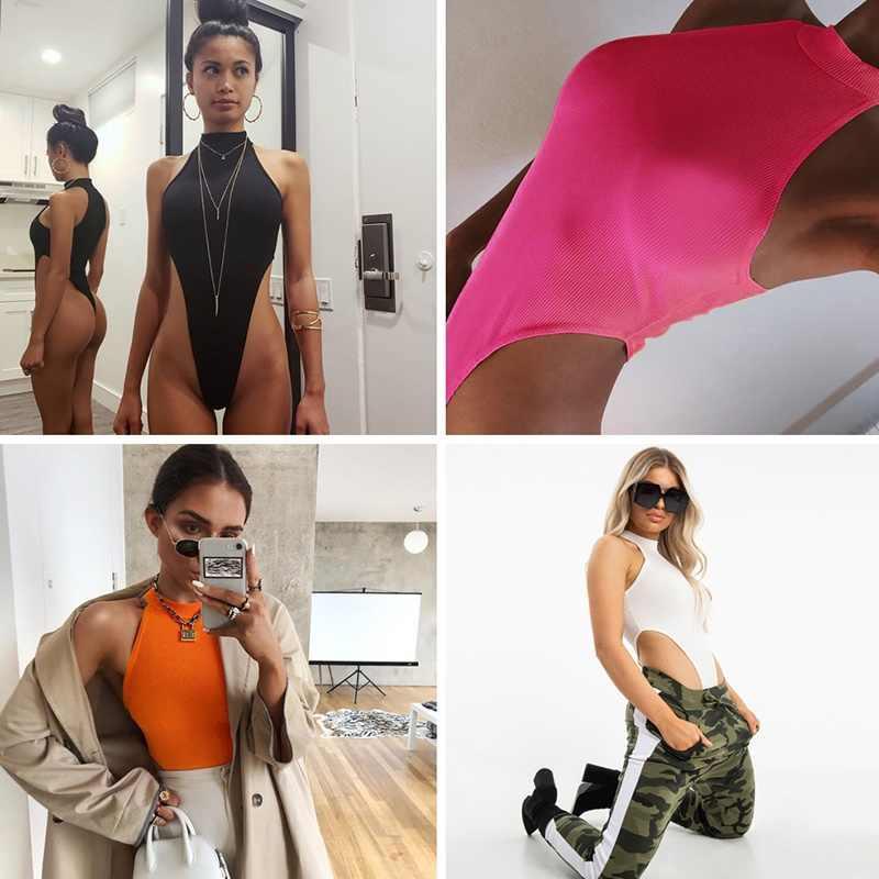 2019 nueva moda Halter Jumpsuit mujer Camisa sin mangas mono pantalones elásticos leotardo Top blusa camiseta