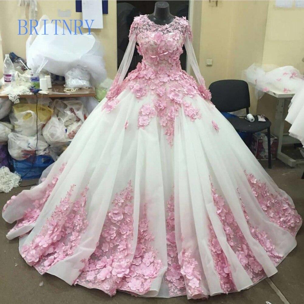 BRITNRY Real Photos robe de mariée de luxe à manches longues dentelle rose avec des fleurs robes de mariée pour mariée robe de bal robes de mariée