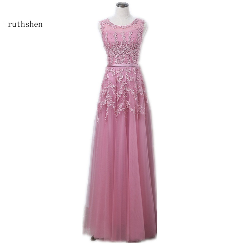 Real Photo Robe De Soiree Longue Rose Pink Long   Evening     Dress   With Lace Pearls Beaded Women Cheap Prom   Dresses   Vestidos Noche