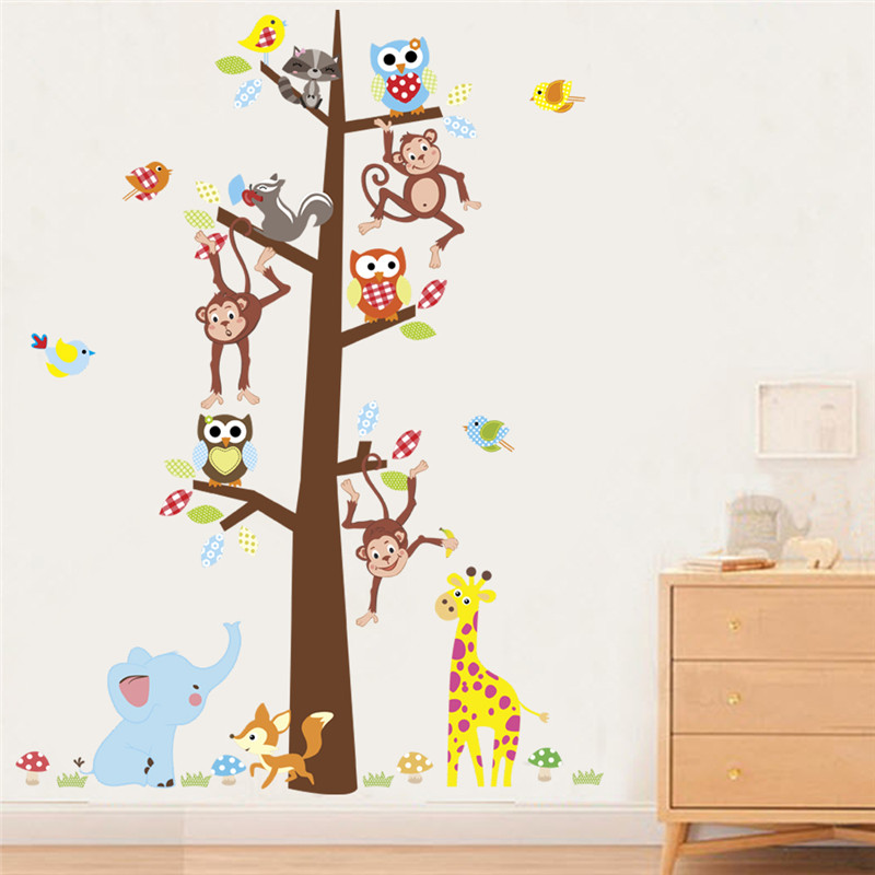 Forest tree monkey giraffe owl elephant birds wall stickers for kids rooms school TV background decor wall decals mural poster