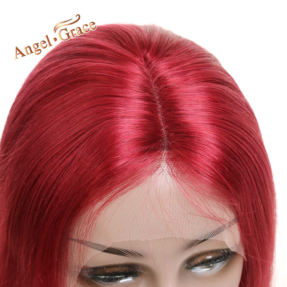 Angel Grace Hair Short Lace Front Wigs Soft Brazilian Straight Human Hair Wigs Red Lace Front Human Hair Wigs For Black Woman