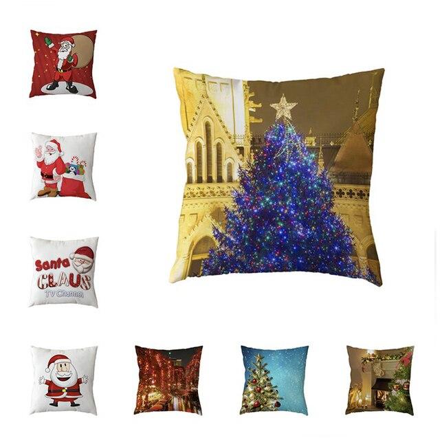 Christmas Cushion Covers Boy Santa Claus Throw Pillow Cases 45*45 Cm Polyester Peach Skin New Year Living Room Sofa Decoration