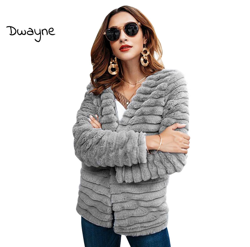 Women Faux Fur Coats Jacket Women Short Coats Autumn Winter Long Sleeve 2018 Ladies Outerwears Solid Gray Women Clothes