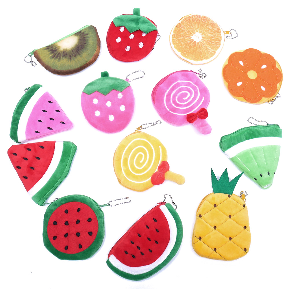 все цены на Kawaii Fruits Plush Coin Purse Children Zip Small Change Purse Wallet Women Pouch Money Bag Girl Mini Short Coin Holder Wallet