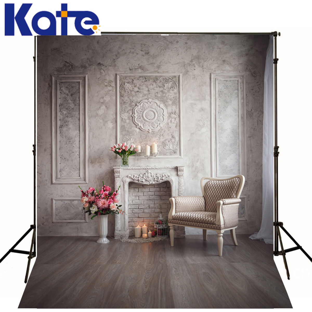 KATE Famille Fond photo Mur Blanc Chaise Enfants Photographie Décors Rose Fleurs Fenêtre Fond Enfant Photo Studio