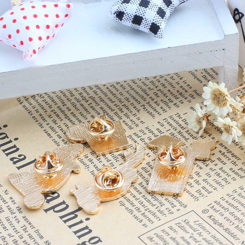 Kreatif Bros Burung Kaktus Bunga Orange Jus Lemon Enamel Denim Jaket Pin Lencana Perhiasan Wanita Anak Dekorasi Hadiah