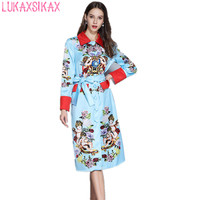 LUKAXSIKAX 2019 New Spring Women Dress High end Custom Angel Rose Flowers Print Long Sleeve Runway Dress Windbreaker Dress