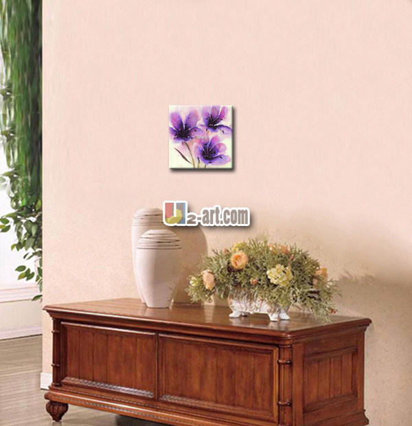 Online Shop Simple purple flowers oil painting printed on canvas ...