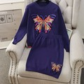 Trendy Embroidered Butterfly Patterns Women Winter Jacket and Skirts 2pcs Suit 2017 Female Fashion Knitting Clothing Suits 1232