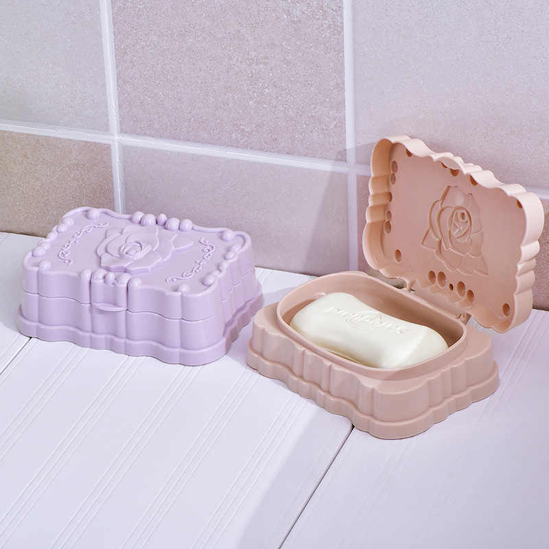 1Pc mydło w kształcie róży danie do akcesoriów łazienkowych mydelniczka pojemnik do przechowywania z pokrywką pokrywa wyciek wody projekt pudełko na mydło