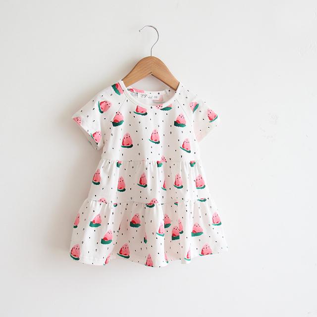 2016 verano nuevas niñas vestido precioso sandía fresca Qunshan vestido Coreano ropa