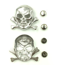 20 Sets Antique Silver Tone Skull Skeleton Bone Punk Garment Rivets Spike Studs Spots 29x33mm