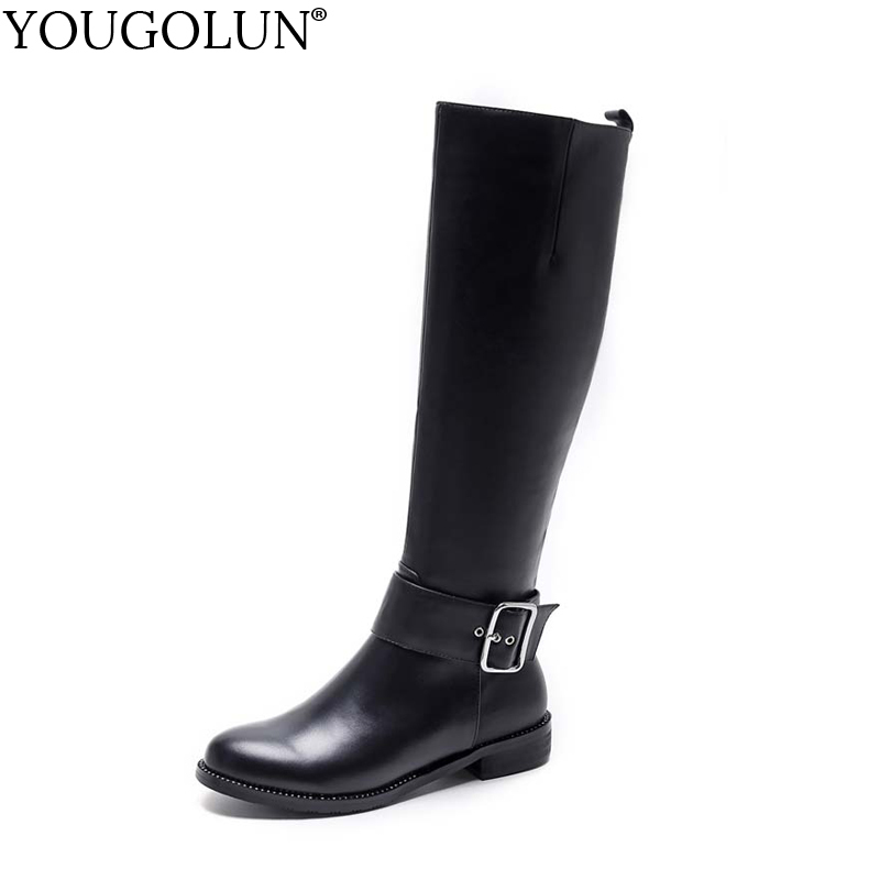 YOUGOLUN Women Knee High Boots Winter Genuine Cow Leather Low Heel 3 cm Square Heels Black Buckle Crystal Round toe shoes #Y-203 yougolun women ankle boots 2018 autumn winter genuine leather thick heel 7 5 cm high heels black yellow round toe shoes y 233