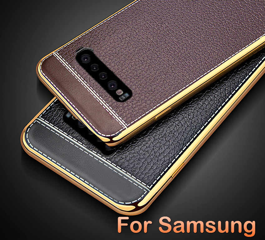 Soft Plating Silicone Case for Samsung A70 A50 A30 A20 A10 S Galaxy S8 S9 S10 Plus S10E A7 2018 A750 Plating Leather Phone Case