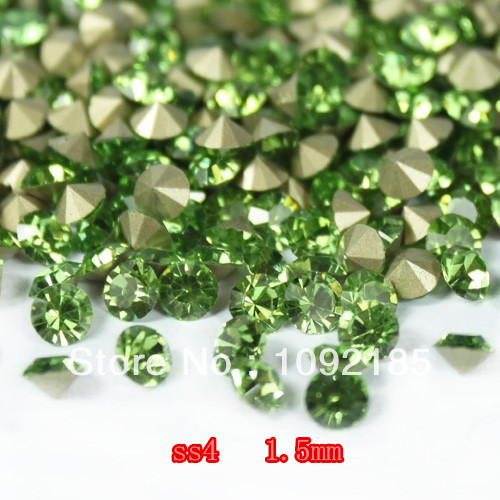 SS4 14400Pieces 100Gross Point Back Rhinestone Peridot Color Point Back Chaton Free Shipping степлер мебельный gross 41001