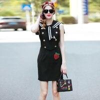 High Quality 2017 New Designer Fashion Women Summer Dress Sailor Collar Sleeveless Button Strawberry Beading Casual