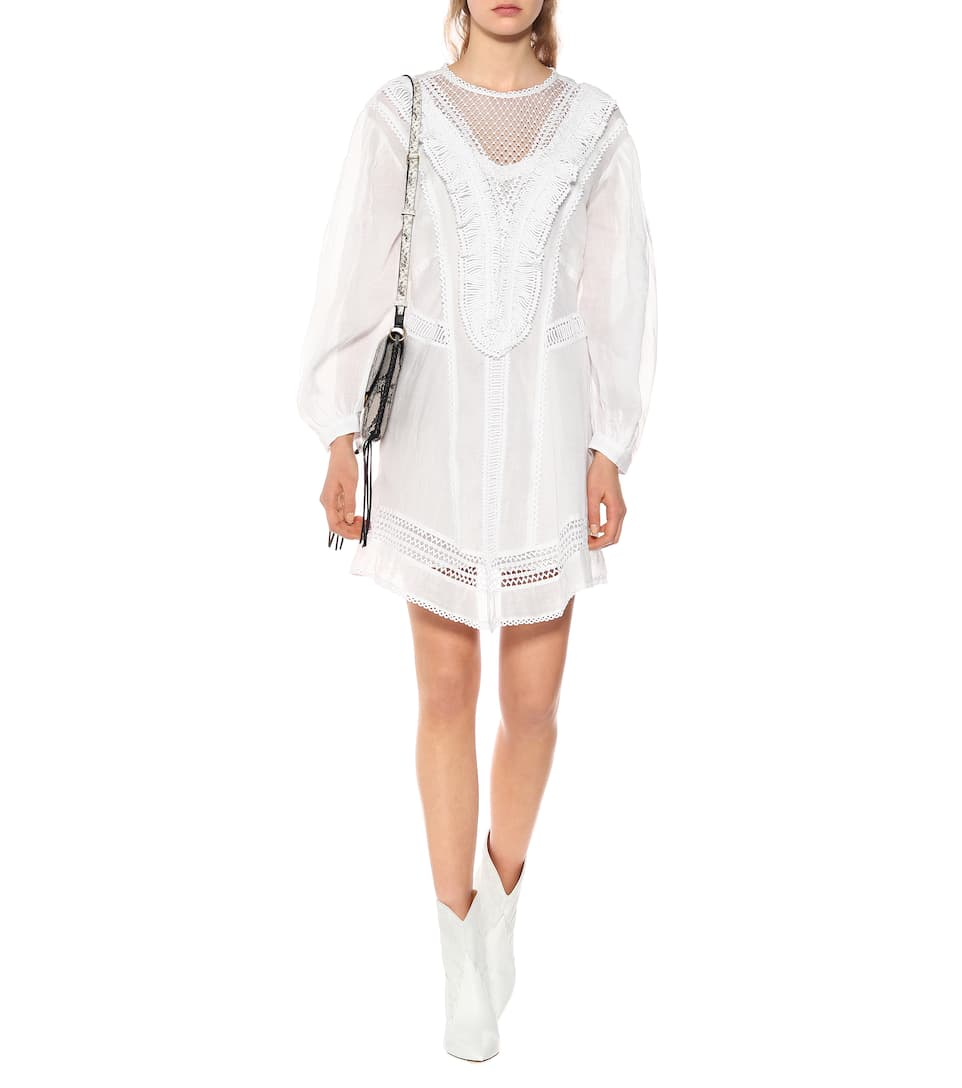 Woman ROWINA Linen Short DRESS Embroidered top Long sleeves Round neck sheer V panel on chest
