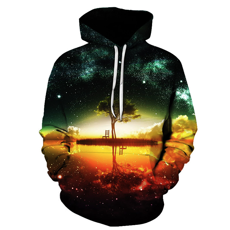 New Style Hiphop Hoodies Galaxy Space 3D Printed Forest Cool Fashion Autumn Sweatshirt Thin Hooded Women Hoodie