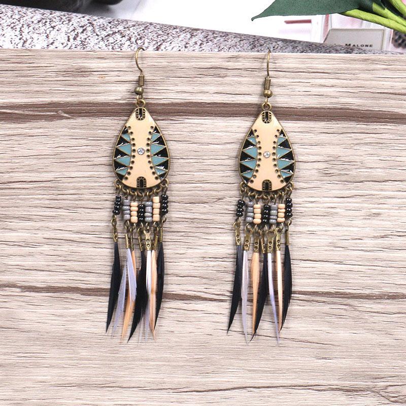 Colorful Enamel Long Feather Earrings for Women Vintage Indian Ethnic Tassel Earring Bohemian Beads Earing Statement Jewelry in Drop Earrings from Jewelry Accessories