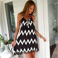 Summer Europe and the United States large yards black and white wave striped beach  fringed sexy chiffon dress