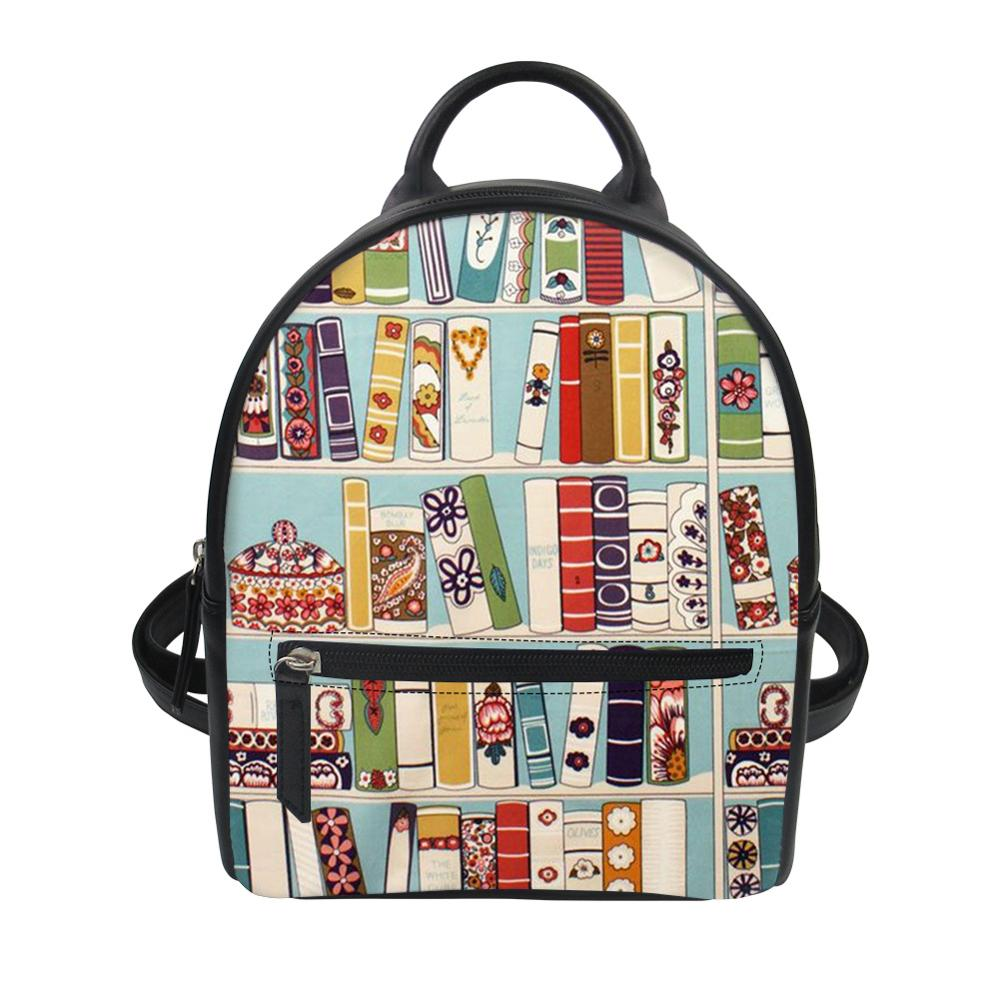 Thikin Book Library Arts Cute Baby Backpack for Teen Boys Girls Travel Mochila PU Mini Zipper Schoolbag Student Preppy Style Bag in Backpacks from Luggage Bags