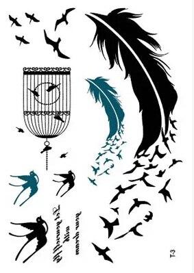 3 Unidslote 10145 Cm Diseño De Pluma Swolow Diy Tatuaje Temporal