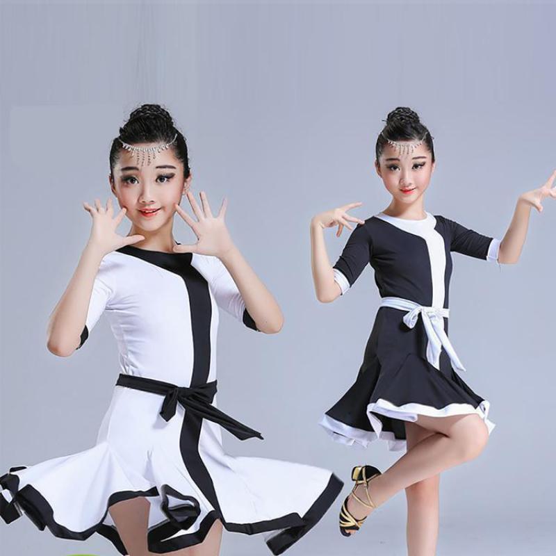 2019bow Middle Sleeve Children Rumba/samba/tango Standard Girls Black/white Skirt Latin Dresses For Dancing Ballroom Dance Dress